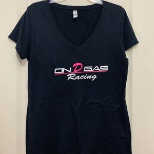 On D Gas black and pink v-neck shirt size L